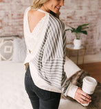 Fashion Casual Sexy Backless  Stripe T-Shirt Gray l
