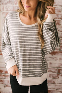 Fashion Casual Sexy Backless  Stripe T-Shirt Gray s
