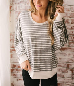 Fashion Casual Sexy Backless  Stripe T-Shirt Gray m
