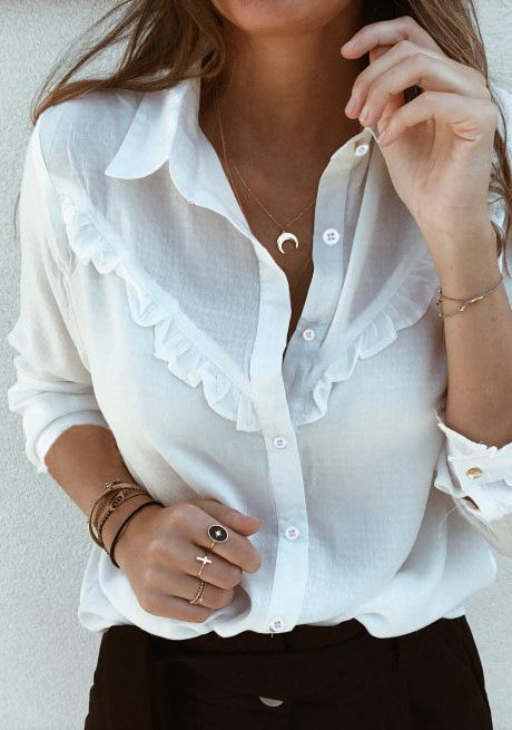 Fashion Casual Sexy Tuck Long Sleeve Shirt White l