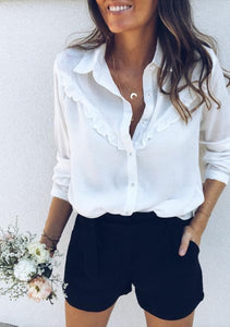 Fashion Casual Sexy Tuck Long Sleeve Shirt White m