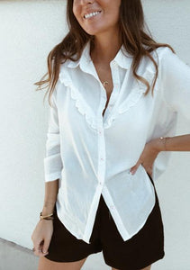 Fashion Casual Sexy Tuck Long Sleeve Shirt White xl