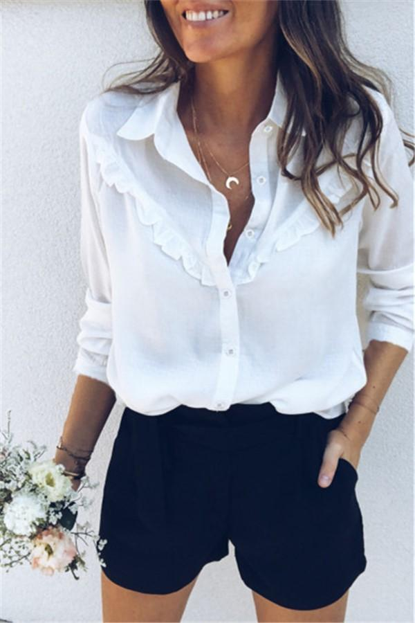 Fashion Casual Sexy Tuck Long Sleeve Shirt White s