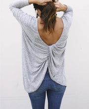 Fashion Casual Pure Color Sexy Exposed Back Long Sleeve Backless T-Shirt