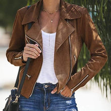 Fashion Casual Pure Color Lapel Multiple Zipper Jacket Coat