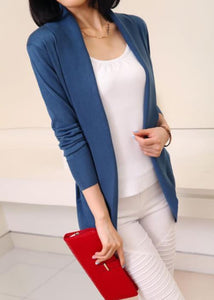 Casual Pure Color Medium Length Knit Cardigan V-Neck Sweater Jacket Blue l