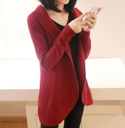 Casual Pure Color Medium Length Knit Cardigan V-Neck Sweater Jacket Red xl