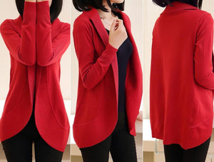 Casual Pure Color Medium Length Knit Cardigan V-Neck Sweater Jacket Red m