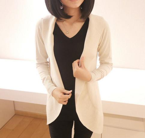 Casual Pure Color Medium Length Knit Cardigan V-Neck Sweater Jacket Beige l