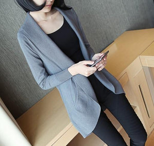 Casual Pure Color Medium Length Knit Cardigan V-Neck Sweater Jacket Black s