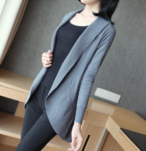 Casual Pure Color Medium Length Knit Cardigan V-Neck Sweater Jacket Black m