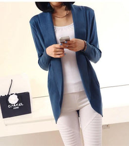 Casual Pure Color Medium Length Knit Cardigan V-Neck Sweater Jacket Blue m