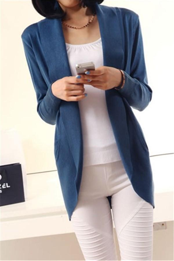 Casual Pure Color Medium Length Knit Cardigan V-Neck Sweater Jacket Blue s