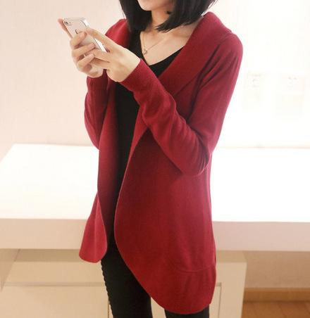 Casual Pure Color Medium Length Knit Cardigan V-Neck Sweater Jacket Red l