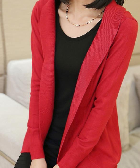 Casual Pure Color Medium Length Knit Cardigan V-Neck Sweater Jacket Red s