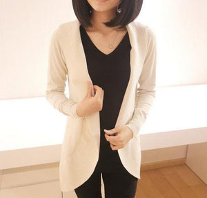 Casual Pure Color Medium Length Knit Cardigan V-Neck Sweater Jacket Beige m