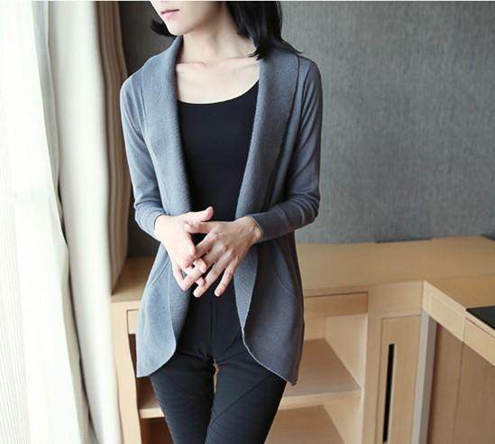 Casual Pure Color Medium Length Knit Cardigan V-Neck Sweater Jacket Black l