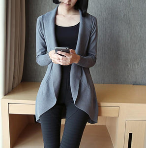 Casual Pure Color Medium Length Knit Cardigan V-Neck Sweater Jacket Black xl