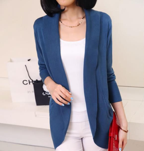 Casual Pure Color Medium Length Knit Cardigan V-Neck Sweater Jacket Blue xl
