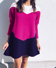 Casual Color Matching Ruffled Skirt With A Round Neck Mini Dress