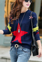 Casual Color Matching Star Print Pullover Knitted Sweater