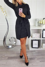 Casual Slim Heaped Collars With Large Pockets For A Mini Dress With A Belt