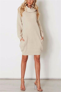 Casual Pure Color Callus Pile Neck Long Oversize Sweater Dress Beige one size