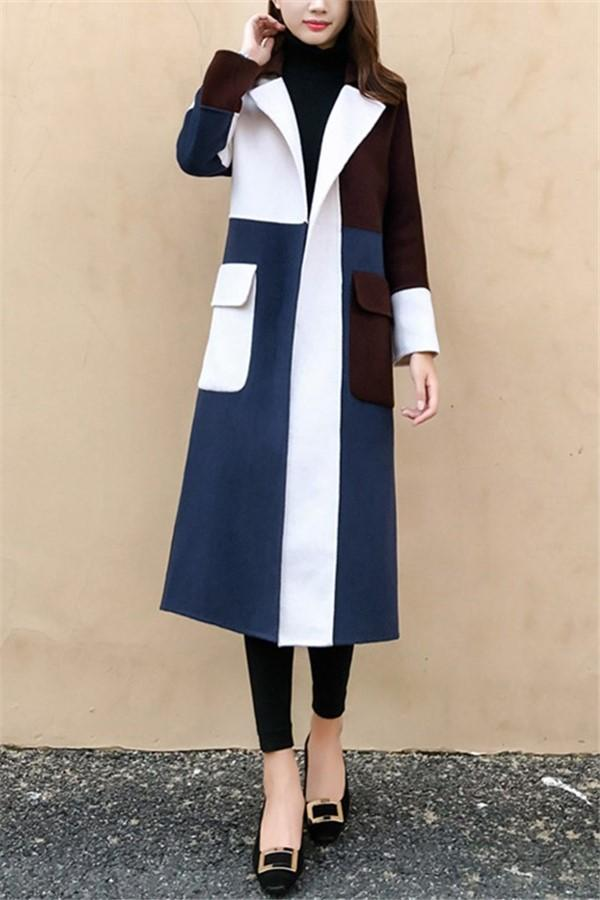 Casual Color Matching Long And Medium Slim Woolen Overcoat Same As Photo s