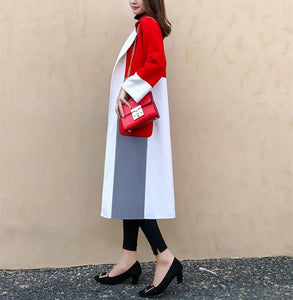 Casual Color Matching Long And Medium Slim Woolen Overcoat Red l