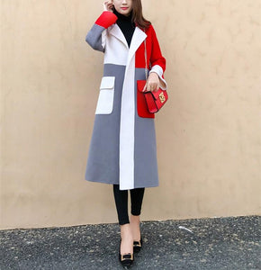 Casual Color Matching Long And Medium Slim Woolen Overcoat Same As Photo 2xl