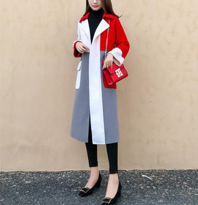 Casual Color Matching Long And Medium Slim Woolen Overcoat Red s