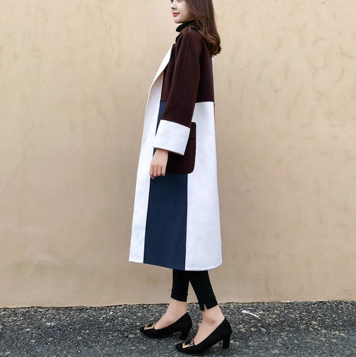 Casual Color Matching Long And Medium Slim Woolen Overcoat Same As Photo l