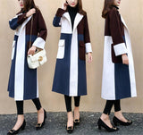Casual Color Matching Long And Medium Slim Woolen Overcoat Same As Photo xl