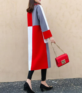 Casual Color Matching Long And Medium Slim Woolen Overcoat Red m