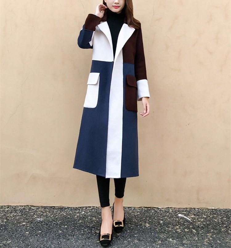 Casual Color Matching Long And Medium Slim Woolen Overcoat Same As Photo m