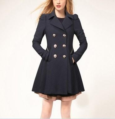 Casual Pure Color Commute Slim And Large Size Trench Coat Royal Blue l