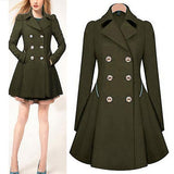 Casual Pure Color Commute Slim And Large Size Trench Coat Khaki xl