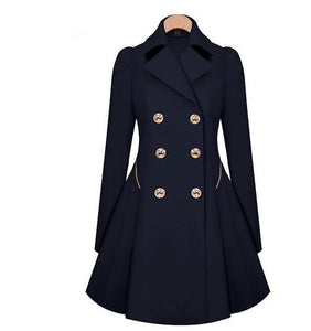 Casual Pure Color Commute Slim And Large Size Trench Coat Royal Blue m