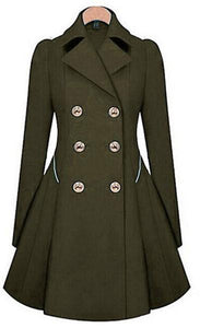 Casual Pure Color Commute Slim And Large Size Trench Coat Khaki l