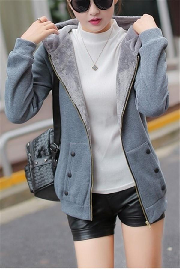 Casual Pure Color Slim Hoodie Cardigan Cotton Coat Gray m