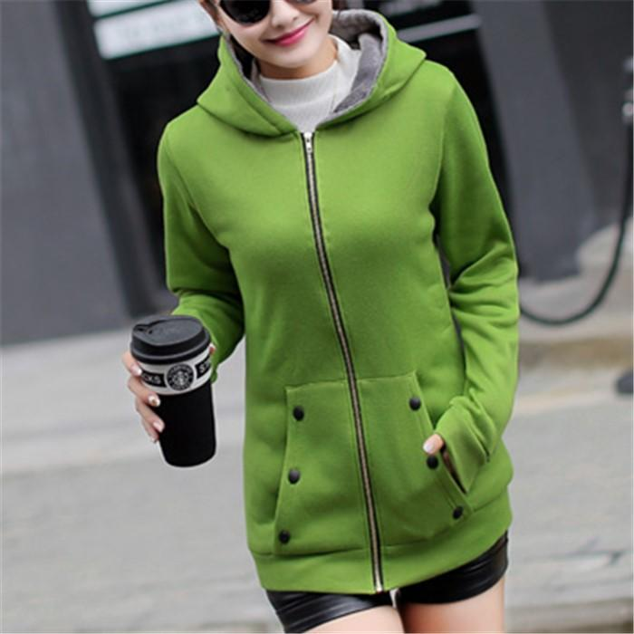 Casual Pure Color Slim Hoodie Cardigan Cotton Coat Red l