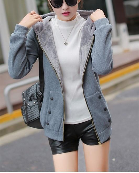 Casual Pure Color Slim Hoodie Cardigan Cotton Coat Gray l