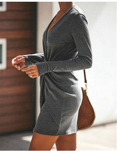 Casual Sexy Pure Color Slim V-Neck Drape Wrap Hip Mini Dress Dark Grey xl