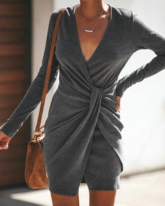Casual Sexy Pure Color Slim V-Neck Drape Wrap Hip Mini Dress Dark Grey l