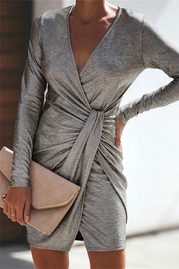 Casual Sexy Pure Color Slim V-Neck Drape Wrap Hip Mini Dress Silver m