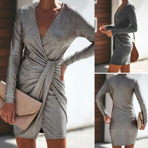 Casual Sexy Pure Color Slim V-Neck Drape Wrap Hip Mini Dress Dark Grey m
