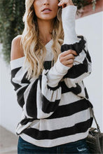 Casual Sexy Off The Shoulder Striped Longsleeved T-Shirt Top