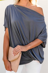 Sexy Pure Color   Slanted Shoulder Baggy Blouse T-Shirt Gray s