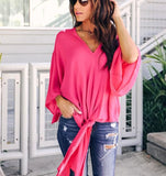 Fashionable Sexy   V-Neck Chiffon Blouse T-Shirt Pink l