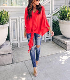 Fashionable Sexy   V-Neck Chiffon Blouse T-Shirt Red s